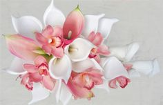 wedding bouquet calla lilies orchids roses peech pictures | Off White & Pink Calla Lilies with Pink Orchids Cascade Bouquet