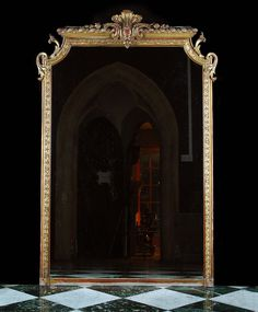Antique French Louis XVI Mirror in Gilded Pine
