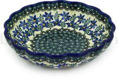 "Polish Pottery Stoneware 9 1/2"" BOWL, blue violets"