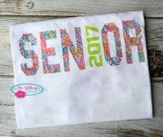 Senior T Shirt, Class of 2017 T Shirt, High School T Shirt, Class of 2017 T Shirt with Monogram, Teen Gifts, Graduate Gift by BeYOUniqueEmbroidery on Etsy