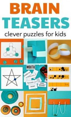 Brain teasers and puzzles for kids enhance math skills. Math Games, Learning Activities, Activities For Kids, Logic Games For Kids, Elderly Activities, Dementia Activities, Kids Brain Games, Physical Activities, Brain Gym For Kids
