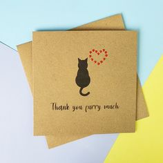 Cat thank you card Cat sitting card Handmade thanks card   Etsy Cat Lover Gifts, Cat Gifts, Pet Lovers, Handmade Thank You Cards, Greeting Cards Handmade, Cat Sitter, Thanks Card, Memory Books, Sell On Etsy