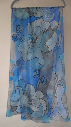 Hand painted blue poppies silks scarf pongee by AijaSilkPainting