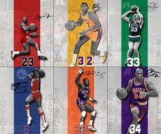 Air Jordan, Magic Johnson, Larry Bird, Dr J, Patrick Ewing and Sir Charles Barkley