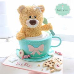 Girl version of #bearpucinno , actually this one is a cup of milk..what should we call this one? Milky bear? Hahaha #bakeaboo #teddycake