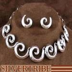 Genuine Sterling Silver Link Necklace and Earrings Native American Jewelry