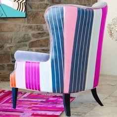 Hazel Chair Modern Wingback W/striped Back