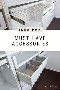 In this post, we're sharing everything we learned building the Ikea PAX closet system, including: helpful tips for assembly ways we hacked the PAX for a custom size how to cover Ikea PAX holes alternative rod options must-have accessories to. Ikea Pax Closet, Closet Redo, Dressing Room Closet, Bedroom Closet Design, Master Bedroom Closet, Closet Designs, Ikea Wardrobe Storage, Closet Ideas, Closet Renovation