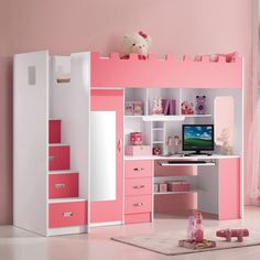 So Extraordinary Full Pink Loft Bed With Desk Closet And Stairs For Girls Cute Bedroom Ideas, Cute Room Decor, Room Ideas Bedroom, Awesome Bedrooms, Cool Rooms, Bedroom Decor, Room Design Bedroom, Girl Bedroom Designs, Small Room Bedroom