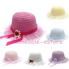 44cfb3dfb73 Children Kids Baby Girls Lace Flower Brim Summer Beach Sun Straw Visor Hat  Cap
