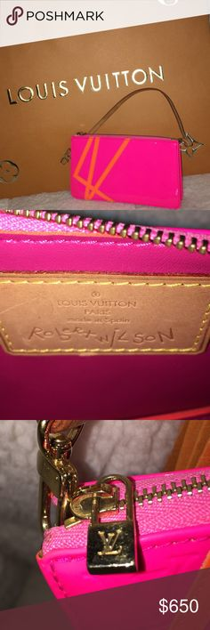 🦄 Louis Vuitton Ltd. Ed. Robert Wilson pochette ATTN  LV COLLECTORS: In 2002, Louis Vuitton collaborated w/artist and dir. Robert Wilson to create an amazing line of bags in Fluo (fluorescent) Monogram Vernis colors. This is a limited edition LEXINGTON POCHETTE in fluo pink Monogram Vernis patent leather, with Fluo orange LV on front and back. Vachetta leather wrist strap shows some patina and brass hardware is in great cond. The mini faux lock zipper pull opens to a very clean fluo pink…