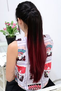 black and red dip dye hair extensions
