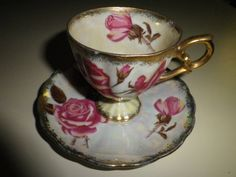 Delicate Tea Cup and Saucer Pink Roses With Gold by OrzoValentine, $14.50