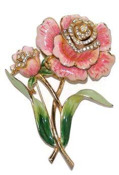 Coro Enamel Rhinestone Floral Brooch Pin 1940's
