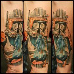 #starwars #starwarstattoo #stormtrooper #darthvader #colortattoo #dope #awesome #tattoo #blackandgrey #blackandwhite #realistic @risingbastards done by jayvee