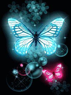 Glitter Butterflies. Gifs animados de Mariposas como estos glitter butterflies gratuitos que podrás enviar online de manera ilimitada a tus amigas. Imágenes de Mariposas con brillo. Envía como post...