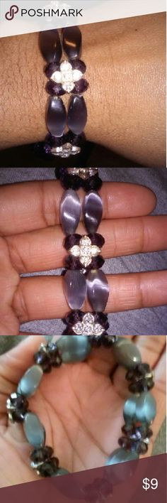 Cute Bracelet Stretch Bracelet. Easy yo put on and off. Color is purple, grey and silver. Really nice to wear with a purple blouse and grey skirt. Jewelry Bracelets