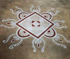 Small Rangoli Design, Beautiful Rangoli Designs, Kolam Designs, Flower Rangoli, Simple Rangoli, Alpona Design, Diy Diwali Decorations, Padi Kolam, Diwali Diy
