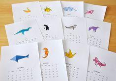 Origami calendar - printable / origami-kalenteri, tulosta.