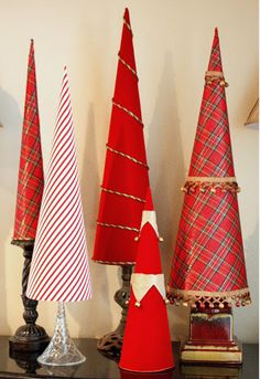 The Exchange: Fabric Covered Poster Board Christmas Tree Cones...
