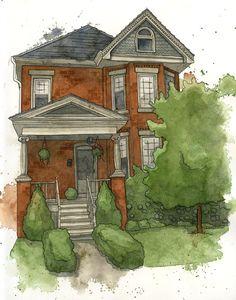 Custom House Portrait Watercolor Illustration by amandafarquharson, $200.00
