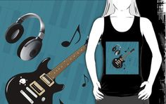 #BluePianoKeys #BlackElectricGuitar #UnisexBlackTankTop by #MoonDreamsMusic