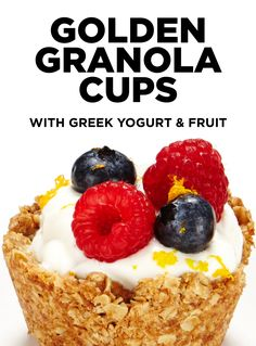 Start your day off right with this delicious breakfast of golden baked granola cups filled with creamy Greek yogurt and fresh berries. #BiteMeMore #Granola #GreekYogurt #Breakfast