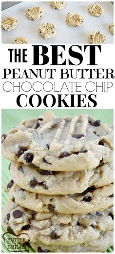 Peanut Butter Chocolate Chip Cookies are a family favorite - these cookies are so soft and have the perfect taste and texture! Easy #cookie #recipe from Butter With A Side of Bread
