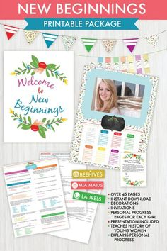 LDS young women New Beginnings printable package and decorations. Includes awesome presentation!