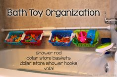 Bath Toys Organized - Using a tension shower rod and some baskets from the dollar store, this system for bath toy organization is quick, simple and inexpensive. Bath Toy Storage, Bath Toy Organization, Diy Storage, Organization Ideas, Storage Ideas, Storage Hacks, Lego Storage, Tension Rods, Dollar Stores