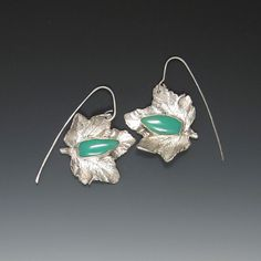Sycamore leaves cast into sterling and set with apple chrysoprase - earrings from Carina Rossner Organics