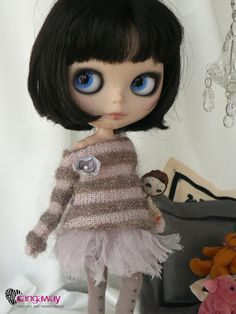 stripes sweater with flower for blythe pullip by Cangaway on etsy