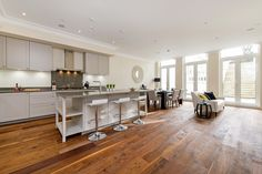 A homely and spacious kitchen, designed, supplied and installed by the Leicht Kitchens Design Centre in Battersea.
