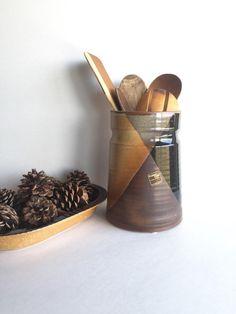 Mid Century Pottery Craft USA Utensil Jar or by SandHollowVintage