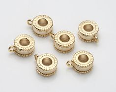Round Brass Rondelle, Bracelet Supplies, Bracelet Component, Polished Gold-Plated - 2 Pieces [RD0050-PG]