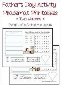 Father's Day Activity Sheet Free Printables