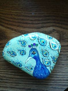 Peacock Hand Painted Rock Paperweight Doorstop Table by Putterpaws, $15.00 Putterpaws.etsy.com