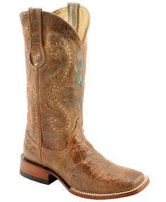 Ferrini Distressed & Embroidered Cowgirl Boots