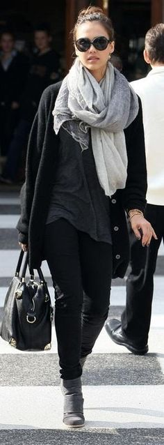 Who made Jessica Alba's gray botos, black sunglasses and bag that she wore in Beverly Hills on January 9, 2010? Sunglasses – Miu Miu  Purse – Viktor & Rolf  Shoes – VPL by Victoria Bartlett