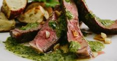 Meat your new favorite way to cook ribeye steak. All of the ingredients in this easy recipe for ribeye, roasted potatoes, and chimichurri sauce can be bought a delivered via Amazon Prime Now.
