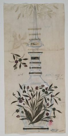 [Design drawing for decanter with jeweled embellishments] [art original] by Buchholz and Zelt, 1900-1930 | Corning Museum of Glass