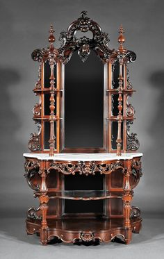 ~ Carved, and Laminated Rosewood Etagere Attr. Meeks ~ liveauctioneers.com