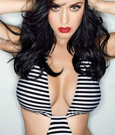 Katy Perry black and white striped cleavage enhancement