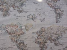 Vintage Antique Brown World Map Print 100% cotton upholstery curtain for photo booth backdrop