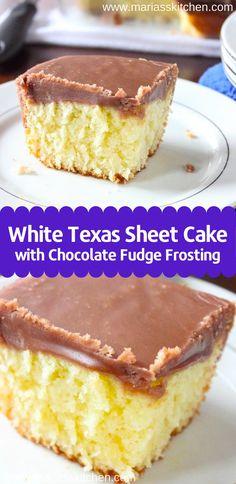 White Texas Sheet Cake with Chocolate Fudge Frosting einfach einfach schnell geburtstag rezepte sheet cake cake cake birthday cake decorated cake recipes White Sheet Cakes, White Texas Sheet Cake, Texas Sheet Cakes, Texas Cake, Sheet Cake Recipes, Easy Cake Recipes, Dessert Recipes, Easy Texas Sheet Cake Recipe, Easy White Cake Recipe