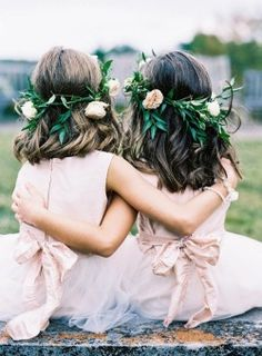 Your flower girls will look the part with flower crowns as they walk down the aisle during your garden wedding ceremony. Wedding Pics, Trendy Wedding, Boho Wedding, Wedding Ceremony, Wedding Flowers, Dream Wedding, Wedding Images, Wedding Dresses, Wedding Unique