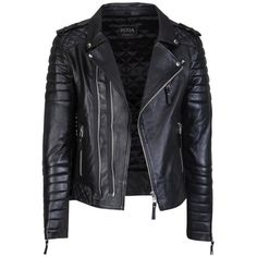 Kay Michaels Quilted Biker (161.595 HUF) ❤ liked on Polyvore featuring outerwear, jackets, leather jackets, tops, coats & jackets, quilted jacket, real leather jackets, biker style jacket and biker jackets