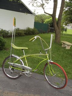 "1969 Huffy 5 speed MUSCLE BIKE 24"" redline tires Lime green sissy bar pad RARE"