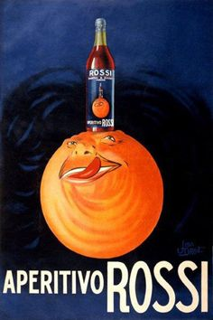 Happy Moon Drinking Aperitive Rossi Drink Italy Vintage Poster Repro Free s H | eBay