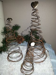 Primitive Tree, Shabby Chic Christmas Tree, Christmas Trees, Rustic Wire Tree, Winter Wonderland, Holiday Tree, Winter Tree, Trio of  Trees on Etsy, $28.00